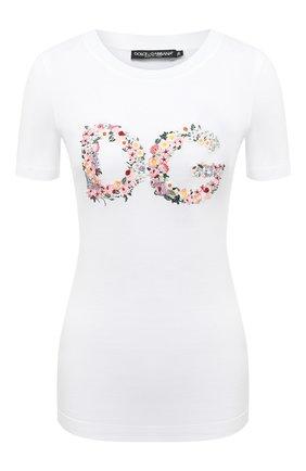 Женская хлопковая футболка DOLCE & GABBANA белого цвета, арт. F8M68Z/G7XME | Фото 1