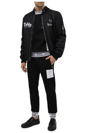 Мужские кожаные кеды VALENTINO черного цвета, арт. UY0S0D93/WMX | Фото 2 (Подошва: Массивная; Материал внутренний: Натуральная кожа)