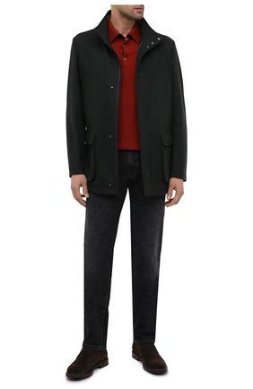 Мужская кашемировая куртка LORO PIANA темно-зеленого цвета, арт. FAL2231 | Фото 2 (Материал внешний: Шерсть; Рукава: Длинные; Мужское Кросс-КТ: Верхняя одежда, шерсть и кашемир; Стили: Кэжуэл; Кросс-КТ: Куртка)