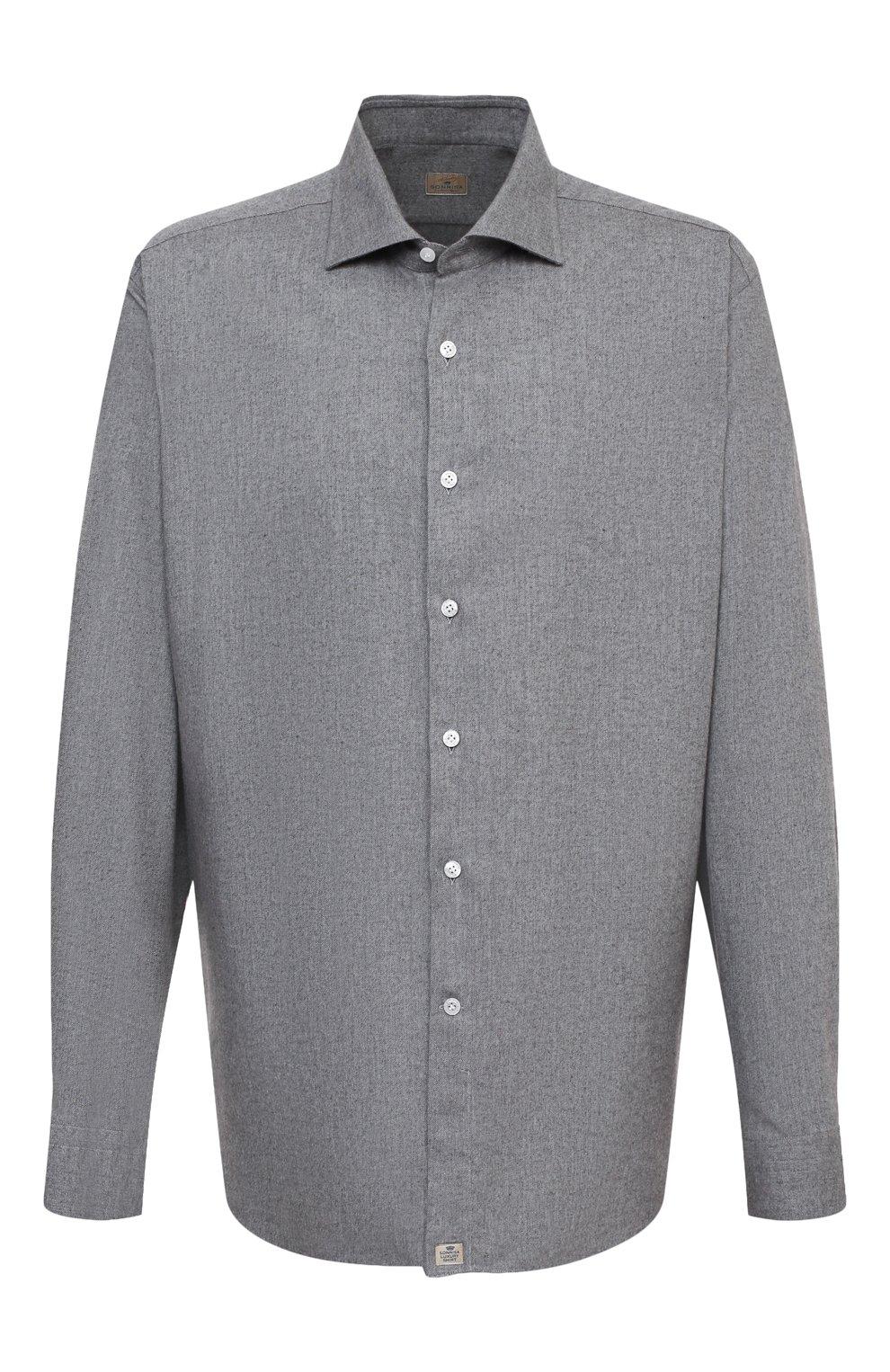 Мужская хлопковая рубашка SONRISA серого цвета, арт. IL7/L1080/47-51   Фото 1 (Big sizes: Big Sizes; Рукава: Длинные; Рубашки М: Regular Fit; Случай: Повседневный; Длина (для топов): Стандартные; Материал внешний: Хлопок; Стили: Кэжуэл)