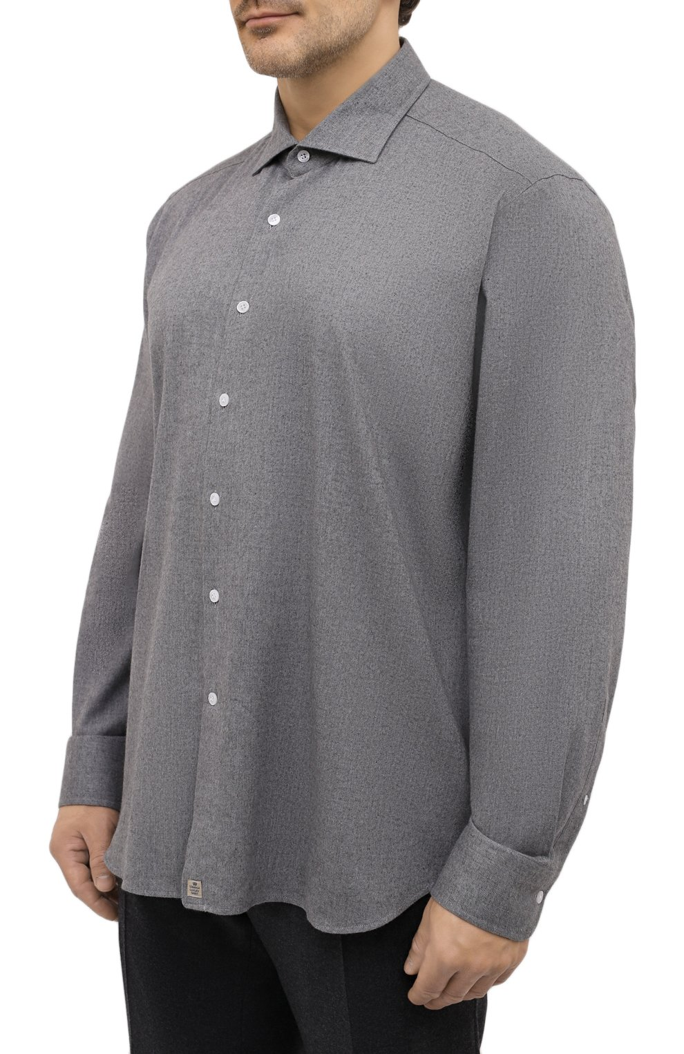 Мужская хлопковая рубашка SONRISA серого цвета, арт. IL7/L1080/47-51   Фото 3 (Big sizes: Big Sizes; Рукава: Длинные; Рубашки М: Regular Fit; Случай: Повседневный; Длина (для топов): Стандартные; Материал внешний: Хлопок; Стили: Кэжуэл)