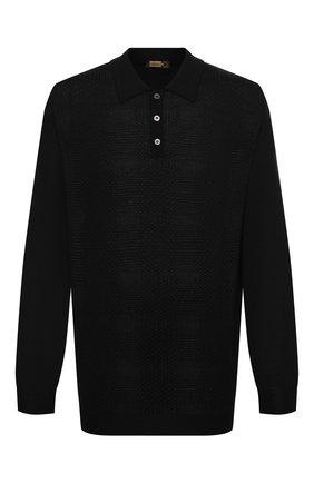 Мужское поло из кашемира и шелка ZILLI черного цвета, арт. MBU-PB098-VASH1/ML01 | Фото 1