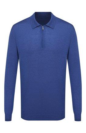 Мужское поло из кашемира и шелка ZILLI синего цвета, арт. MBU-PZ012-NECL1/ML01   Фото 1