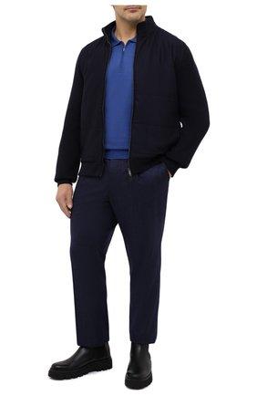 Мужское поло из кашемира и шелка ZILLI синего цвета, арт. MBU-PZ012-NECL1/ML01   Фото 2