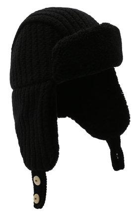 Шерстяная шапка-ушанка с меховой подкладкой | Фото №1