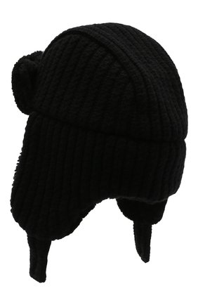 Шерстяная шапка-ушанка с меховой подкладкой | Фото №2