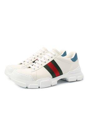 Мужские кожаные кроссовки GUCCI белого цвета, арт. 624701/0FI60 | Фото 1