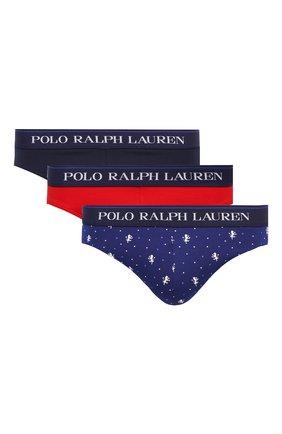 Мужские комплект из трех хлопковых брифов POLO RALPH LAUREN темно-синего цвета, арт. 714805506/001 | Фото 1