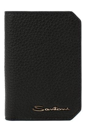 Мужской кожаный футляр для кредитных карт SANTONI черного цвета, арт. UFPPA2024F0-HMA1N01   Фото 1