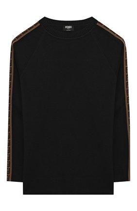 Детский шерстяной пуловер FENDI черного цвета, арт. JUG003/A8L9/8A-12+   Фото 1