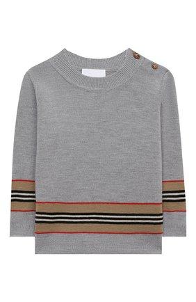 Детский шерстяной пуловер BURBERRY серого цвета, арт. 8033036 | Фото 1