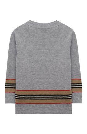 Детский шерстяной пуловер BURBERRY серого цвета, арт. 8033036 | Фото 2