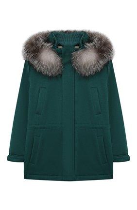 Детское кашемировое пальто LORO PIANA зеленого цвета, арт. FAF8661 | Фото 1