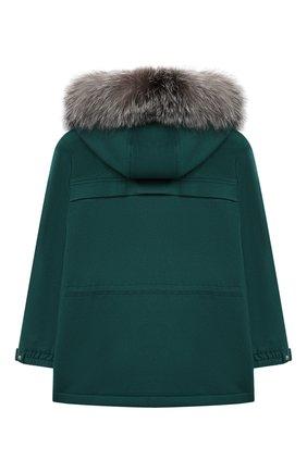 Детское кашемировое пальто LORO PIANA зеленого цвета, арт. FAF8661 | Фото 2