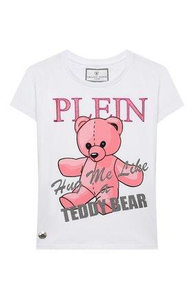 Детская хлопковая футболка PHILIPP PLEIN белого цвета, арт. F20C GTK0634 PJY002N | Фото 1