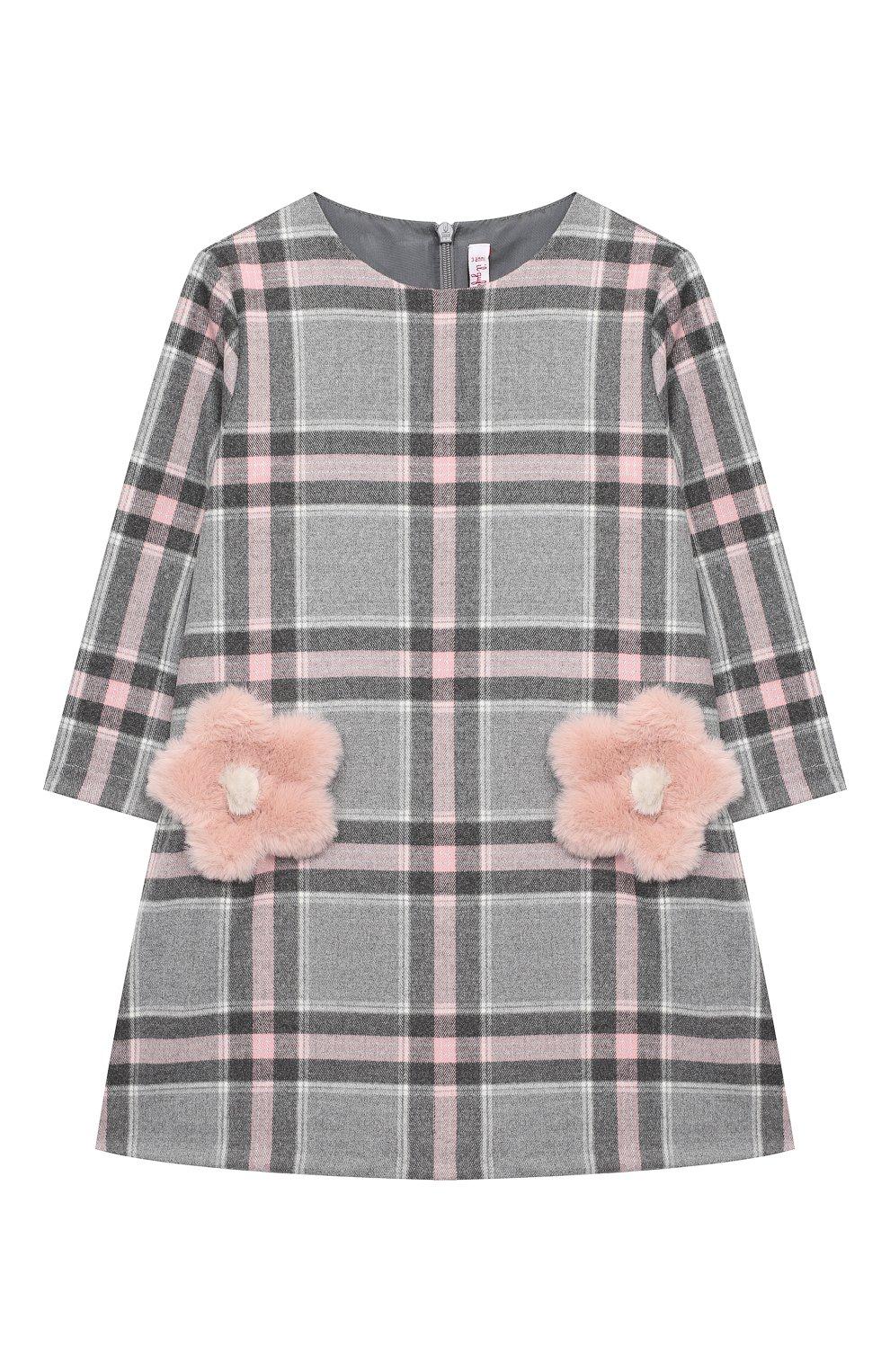 Детское платье IL GUFO розового цвета, арт. A20VL415W3048/5A-8A | Фото 1 (Рукава: Длинные; Случай: Повседневный; Материал внешний: Синтетический материал; Материал подклада: Синтетический материал)