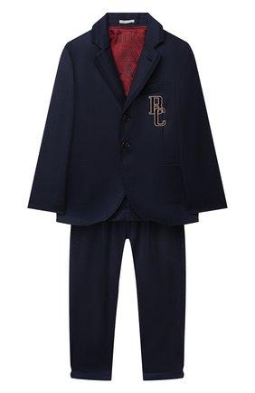 Детский шерстяной костюм BRUNELLO CUCINELLI синего цвета, арт. BE226A108C | Фото 1 (Материал внешний: Шерсть; Рукава: Длинные; Материал подклада: Купро; Кросс-КТ: костюм; Ростовка одежда: 12 лет | 152 см)