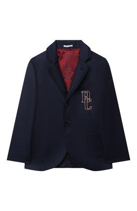 Детский шерстяной костюм BRUNELLO CUCINELLI синего цвета, арт. BE226A108C | Фото 2 (Материал внешний: Шерсть; Рукава: Длинные; Материал подклада: Купро; Кросс-КТ: костюм; Ростовка одежда: 12 лет | 152 см)