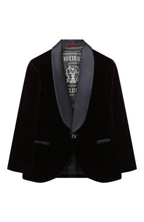 Детский бархатный пиджак BRUNELLO CUCINELLI бордового цвета, арт. BQ401S703A | Фото 1 (Материал внешний: Хлопок; Рукава: Длинные; Материал подклада: Купро; Кросс-КТ: пиджак; Ростовка одежда: 4 года | 104 см, 6 лет | 116 см)