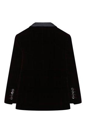 Детский бархатный пиджак BRUNELLO CUCINELLI бордового цвета, арт. BQ401S703A | Фото 2 (Материал внешний: Хлопок; Рукава: Длинные; Материал подклада: Купро; Кросс-КТ: пиджак; Ростовка одежда: 4 года | 104 см, 6 лет | 116 см)