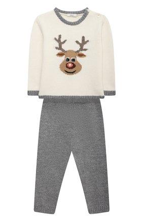 Детский комплект из пуловера и брюк BABY T серого цвета, арт. 20AI070C/1M-12M | Фото 1