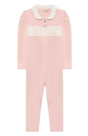 Детский шерстяной комбинезон BABY T розового цвета, арт. 20AI111TZ/1M-12M | Фото 1