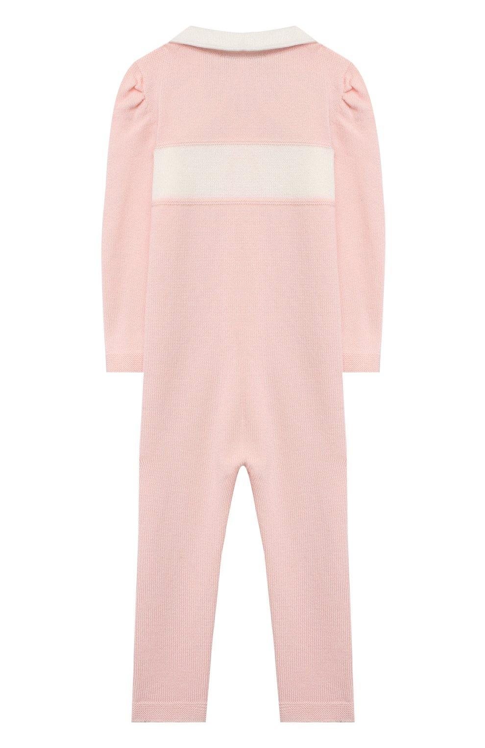 Детский шерстяной комбинезон BABY T розового цвета, арт. 20AI111TZ/18M-3A | Фото 2