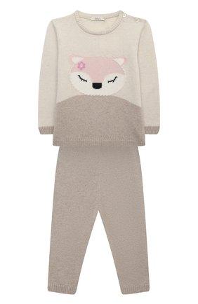 Детский комплект из пуловера и брюк BABY T бежевого цвета, арт. 20AI170C/1M-12M | Фото 1