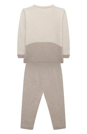 Детский комплект из пуловера и брюк BABY T бежевого цвета, арт. 20AI170C/1M-12M | Фото 2