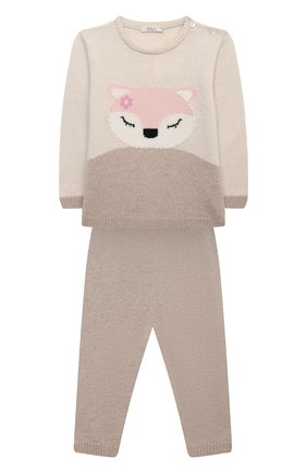 Детский комплект из пуловера и брюк BABY T бежевого цвета, арт. 20AI170C/18M-3A | Фото 1