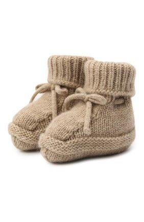 Детские кашемировые носки BABY T бежевого цвета, арт. 20AIC883SA   Фото 1