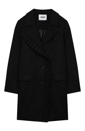Детское шерстяное пальто MSGM KIDS черного цвета, арт. 025146 | Фото 1