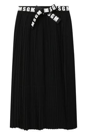 Детская плиссированная юбка MSGM KIDS черного цвета, арт. 025209 | Фото 1