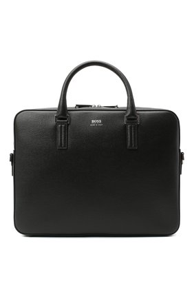 Мужская кожаная сумка для ноутбука BOSS черного цвета, арт. 50390138 | Фото 1