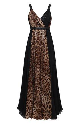 Женское шелковое платье DOLCE & GABBANA коричневого цвета, арт. F6K2IT/GDW24/PBIV | Фото 1