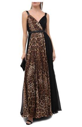 Женское шелковое платье DOLCE & GABBANA коричневого цвета, арт. F6K2IT/GDW24/PBIV | Фото 2