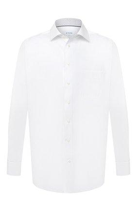 Мужская хлопковая сорочка ETON белого цвета, арт. 1000 01387 | Фото 1 (Рукава: Длинные; Материал внешний: Хлопок; Мужское Кросс-КТ: Сорочка-одежда; Принт: Однотонные; Big sizes: Big Sizes; Случай: Формальный; Рубашки М: Classic Fit; Стили: Классический; Манжеты: На пуговицах; Воротник: Кент; Длина (для топов): Удлиненные)