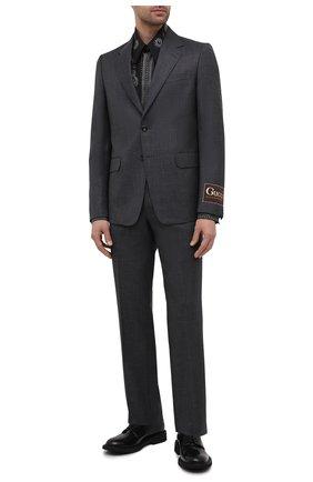 Мужская хлопковая рубашка GIVENCHY черного цвета, арт. BM60MB13BL | Фото 2