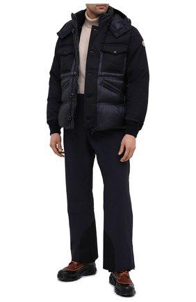 Мужская пуховая куртка penze MONCLER темно-синего цвета, арт. F2-091-1B537-00-53048 | Фото 2 (Материал утеплителя: Пух и перо; Рукава: Длинные; Длина (верхняя одежда): Короткие; Материал подклада: Синтетический материал; Материал внешний: Синтетический материал; Мужское Кросс-КТ: Верхняя одежда, Пуховик-верхняя одежда, пуховик-короткий; Стили: Кэжуэл; Кросс-КТ: Пуховик, Куртка)