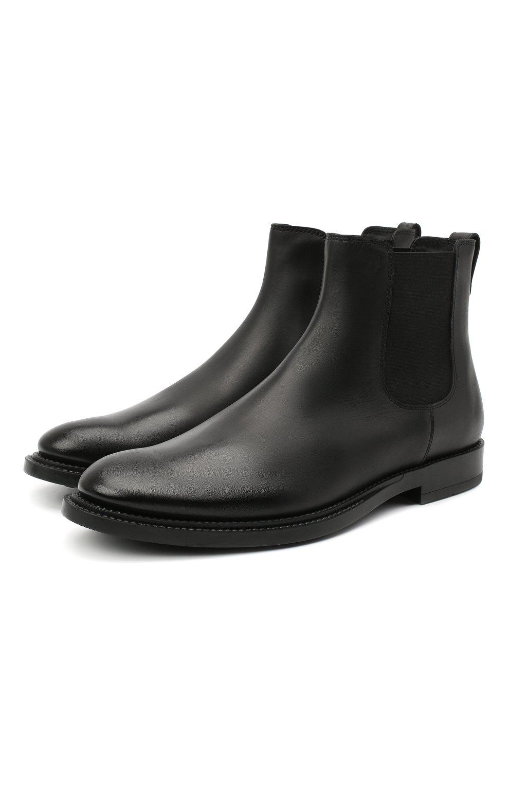 Мужские кожаные челси TOD'S черного цвета, арт. XXM62C00P200LW   Фото 1 (Материал внутренний: Натуральная кожа; Подошва: Плоская)