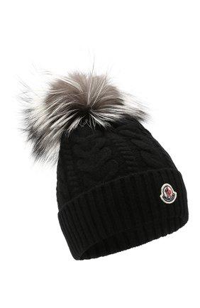 Женская шерстяная шапка MONCLER черного цвета, арт. F2-093-9Z703-01-A9328 | Фото 1