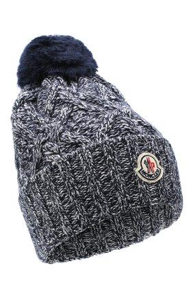 Женская шерстяная шапка MONCLER синего цвета, арт. F2-093-9Z736-00-A9444 | Фото 1