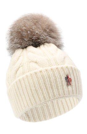 Женская шерстяная шапка MONCLER белого цвета, арт. F2-098-3B702-01-A0069 | Фото 1