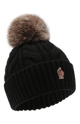 Женская шерстяная шапка MONCLER черного цвета, арт. F2-098-3B702-01-A0069 | Фото 1