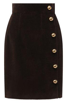 Женская хлопковая юбка DOLCE & GABBANA темно-коричневого цвета, арт. F4BX4T/FUWC5 | Фото 1