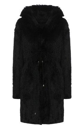 Женская шуба из меха кролика DROME черного цвета, арт. DPD5334P/D849   Фото 1 (Материал внешний: Натуральный мех; Рукава: Длинные; Длина (верхняя одежда): До середины бедра; Женское Кросс-КТ: Мех)