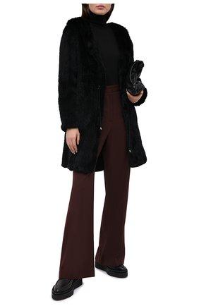 Женская шуба из меха кролика DROME черного цвета, арт. DPD5334P/D849   Фото 2 (Материал внешний: Натуральный мех; Рукава: Длинные; Длина (верхняя одежда): До середины бедра; Женское Кросс-КТ: Мех)
