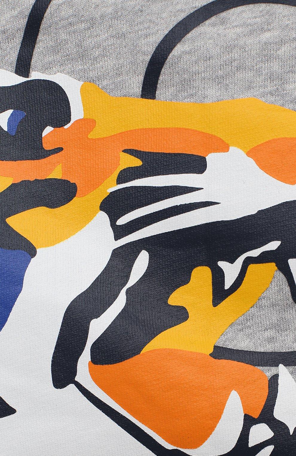 Детский хлопковая толстовка KENZO серого цвета, арт. KR17507 | Фото 3