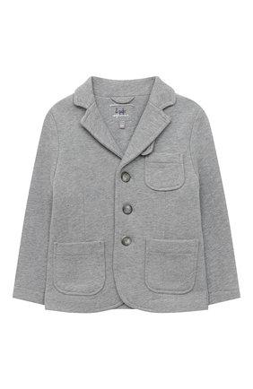 Детский хлопковый пиджак IL GUFO серого цвета, арт. A20BF043M0022/2A-4A | Фото 1 (Рукава: Длинные; Материал внешний: Хлопок; Кросс-КТ: пиджак; Ростовка одежда: 3 года | 98 см)