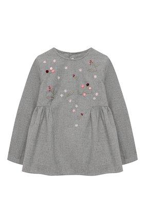 Детское хлопковая блузка IL GUFO серого цвета, арт. A20CL187C0051/5A-8A | Фото 1